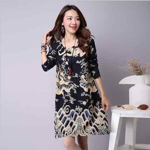 2018 Новое Осеннее женское платье с цветочным принтом в китайском стиле большого размера, Хлопковое платье с длинными рукавами, женское осеннее офисное платье E846