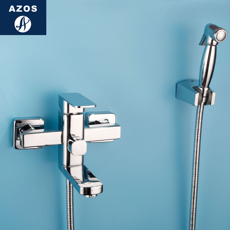 Azos Bidet Faucet Pressurized Sprinkler Head Brass Chrome Cold and Hot Switch Two Function Toilet Cleaning Shower Room SquarePJP