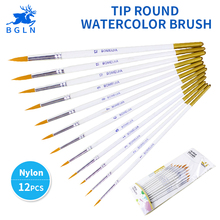 BGLN 12Pcs/set Round Tip Watercolor Paint Brush Different Size Nylon Hair Art Painting Brush For Drawing Supplies