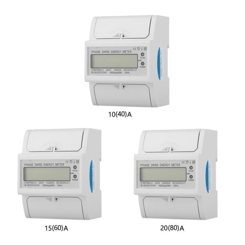 20 2 hilos A Medidor el/éctrico de riel DIN de 220 V monof/ásico 80 2 cables Medidor de KWh electr/ónico de riel Din