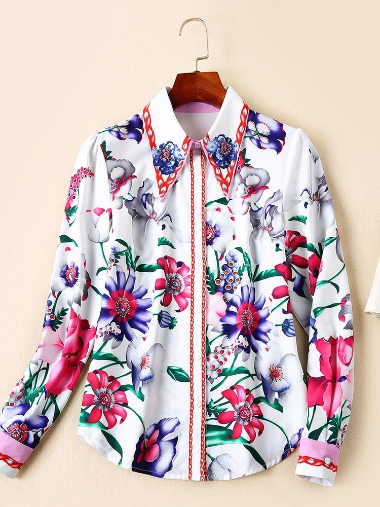 Revers Nouveau Chemise Printemps Style De Mode Femmes Poitrine Européen Floral Longues Imprimé À Américain 2019 Et Manches Unique wT1Yw407