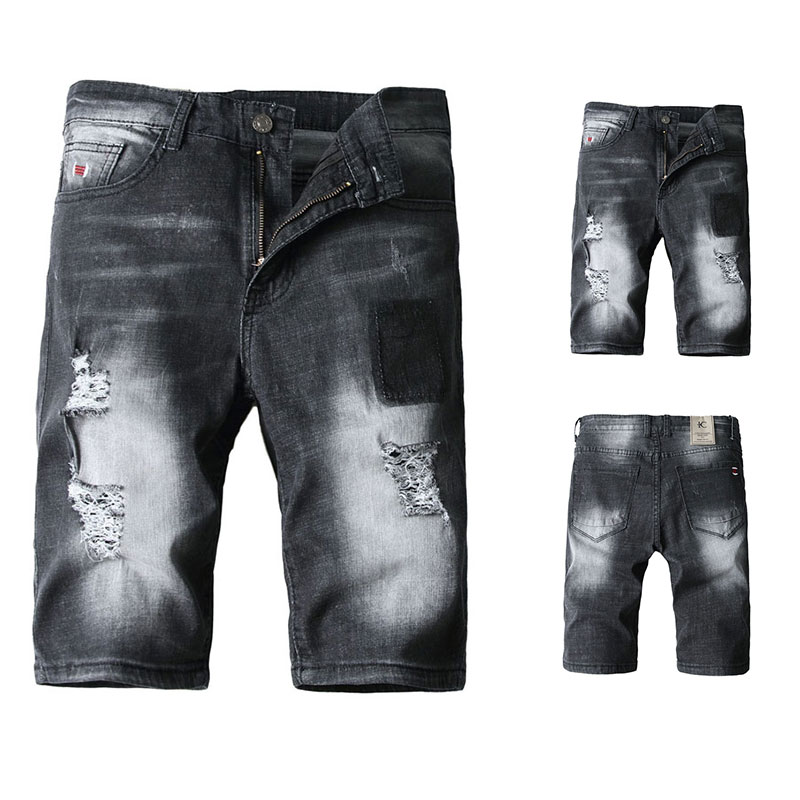 2019 Summer New Black Color Mens Jeans Shorts Ripped Jeans For Men Denim Shorts Street Youth Casual Beach Shorts Men Jeans