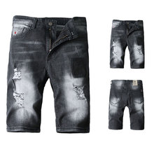 2019 Summer New Black Color Mens Jeans Shorts Ripped Jeans For Men Denim Shorts Street Youth Casual Beach Shorts Men Jeans black color white wash destroyed short ripped jeans men youth retro design denim shorts fashion summer frayed mens jeans shorts