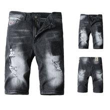 купить 2019 Summer New Black Color Mens Jeans Shorts Ripped Jeans For Men Denim Shorts Street Youth Casual Beach Shorts Men Jeans дешево