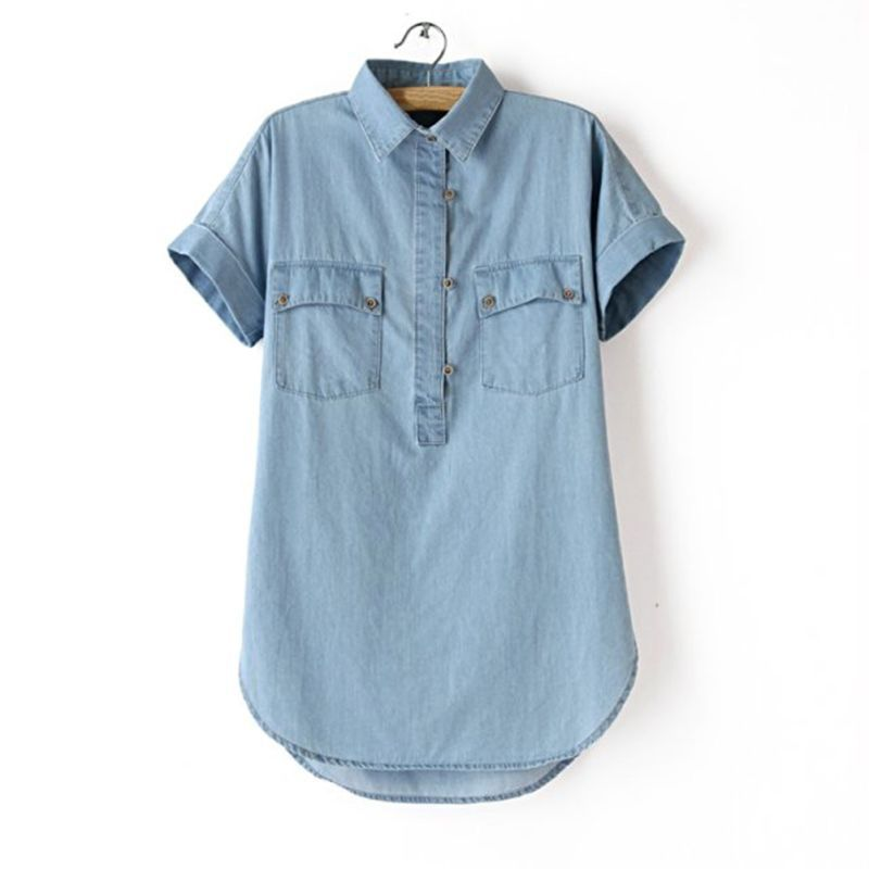 Popular women short sleeve denim shirt buy cheap women for Blue denim shirt for womens