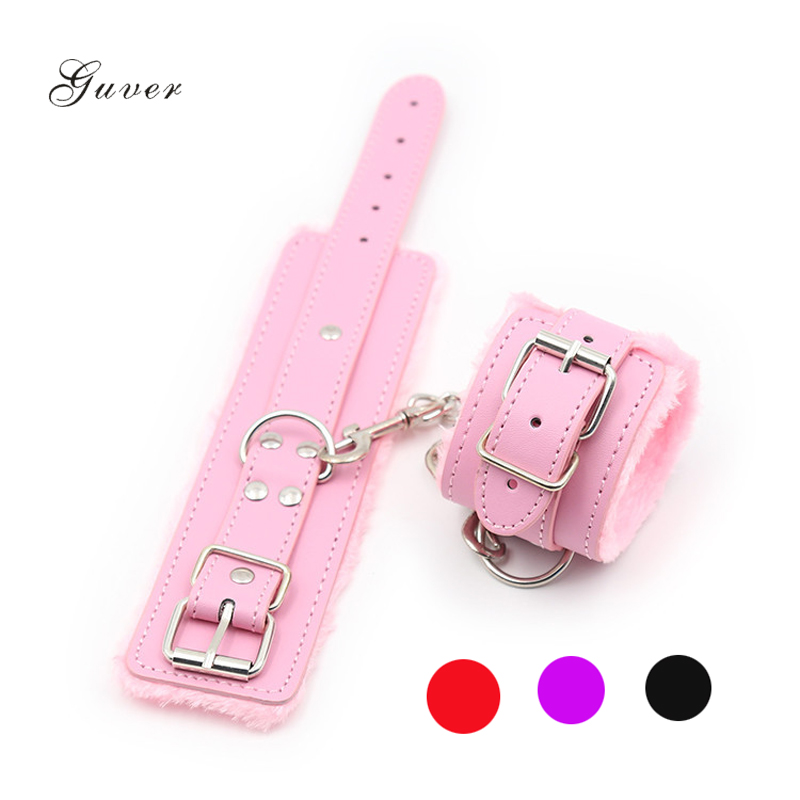 1 Pair Adjustable Sexy Handcuff  PU Leather Women Ankle Cuff Plush Restraints Bondage Adult Sex Toys For Couples