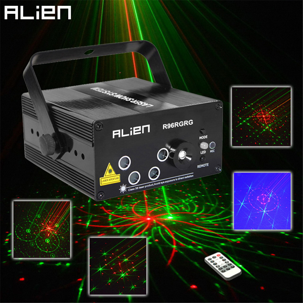 ALIEN New Mini DJ Laser Stage Lighting Effect 96 Patterns RG Mix Laser Projector Led Blue DJ Disco Party Xmas Christmas Lights rg mini 3 lens 24 patterns led laser projector stage lighting effect christmas xmas remote 3w blue for dj disco party club