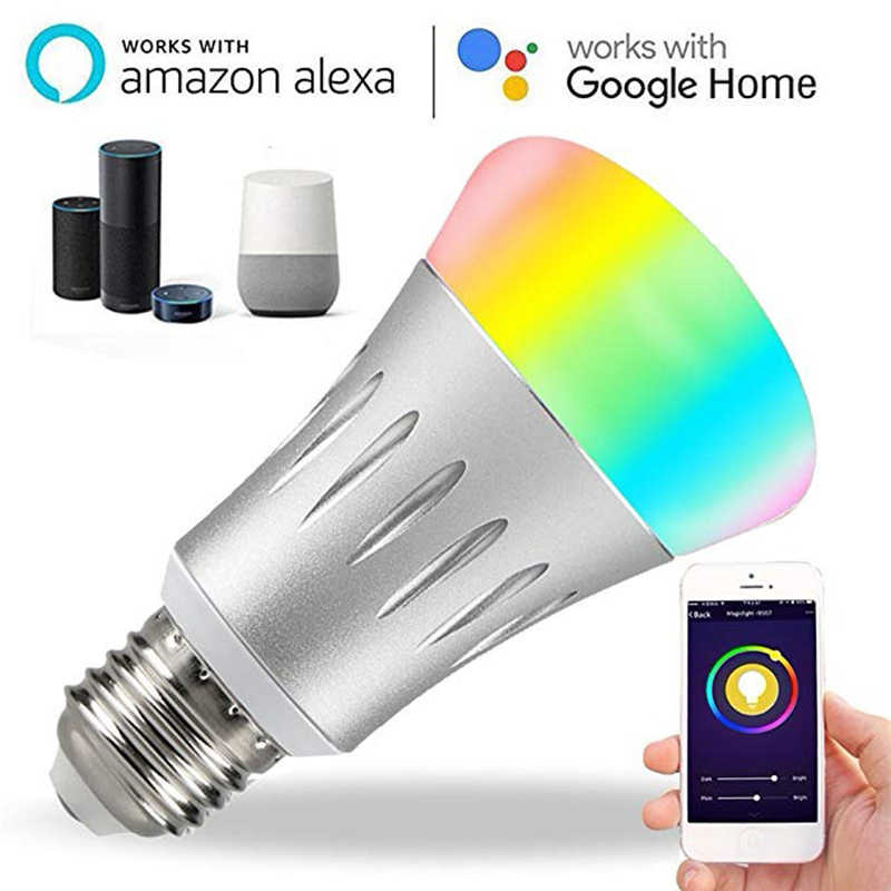 Умная лампа 7 Вт E27 Wifi умный светодиодный светильник Беспроводная лампа работает с Amazon Alexa Google Home IFFFT RGB пульт дистанционного управления