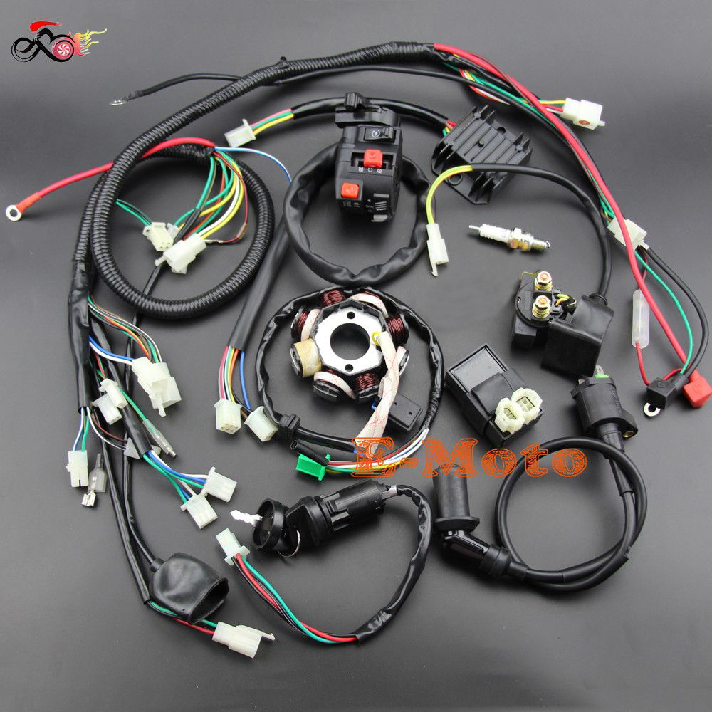 BUGGY WIRING HARNESS LOOM GY6 ENGINE 125 150CC QUAD ATV ELECTRIC START STATOR 8 COIL SPARK