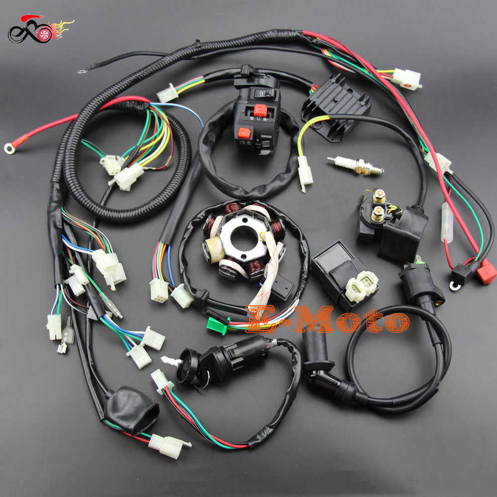 Full WIRING LOOM HARNESS CDI Coil Regulator Magneto Lights ... on