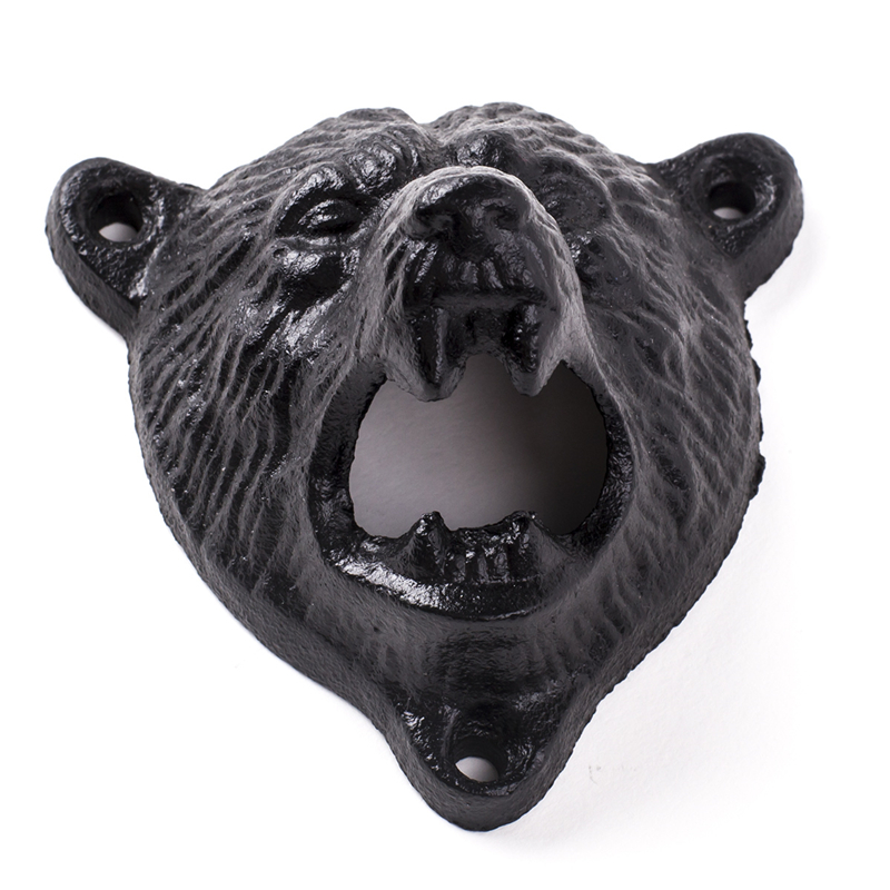 bear head grizzly beer bottle opener cast iron wall mount glass
