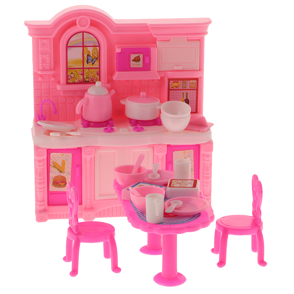 Barbie doll house furniture - 1 12 Scale Dollhouse Kitchen Simulation Furniture Set Dining Table Cabinet For Barbie Doll Classic