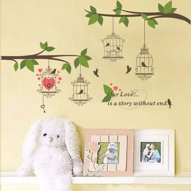 New arrival Branch Bird cage wall stickers Lover\'s wedding room The ...