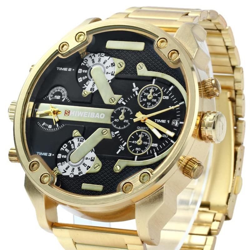 SHIWEIBAO Herre ure Dobbelt Quartz Movt Gold Watch Armbåndsure Big - Mænds ure - Foto 4