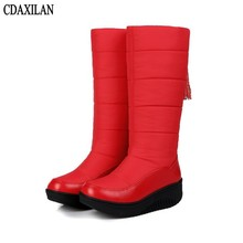 CDAXILAN new arrival snow boots women down thickened plush warmth legs mid-calf mid heel wedges shoes ladies winter