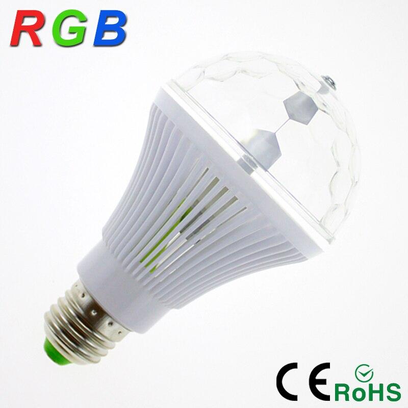 4Pcs/lot YNL RGB Colorful Rotating Dj Disco Light 6W E27 85-265V Color Music Magic Disco Ball  Party Lights Effect Bulb Lamp