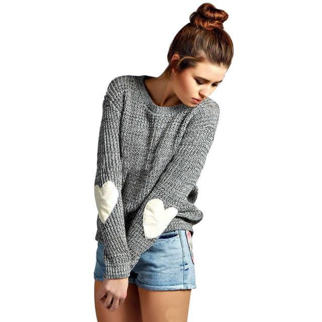 Recém Mulheres À Moda Da Forma do Coração Luva Frouxo Malha Sólida Em Torno Do Pescoço Camisola Femme Jumper Malhas Pulôver Outwear No21