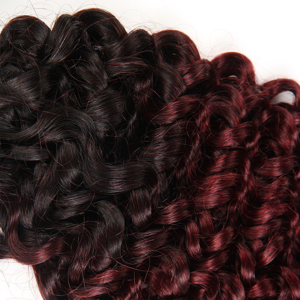 Sleek Hair No Weft Remy Peruvian Curly Human Bulk Hair For Braiding 3 Bundles Human Hair Crochet Braids Ombre 99J Free Shipping
