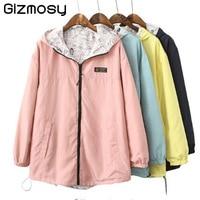 Spring Bomber Jacket Women Zipper Hooded Long Coats Two Side Can Wear Cartoon Print Outwear Casual