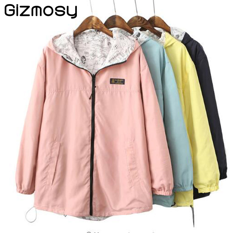 Spring Bomber Jacket Women Zipper Hooded Long Coats Two Side Can Wear Cartoon Print Outwear Casual Loose Pockets Tops SY067