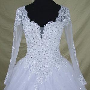 Image 4 - Robe De mariée en dentelle à manches longues col en V, robe De mariée moderne élégante et arabe avec des images réelles, 2020
