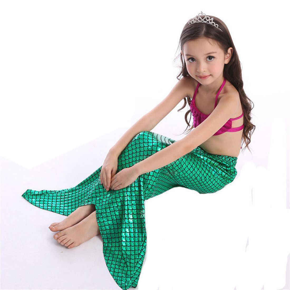 Купальный костюм для девочек, 3 предмета, комплект бикини, детский купальник с хвостом русалки, женский купальник-бикини, купальный костюм, необычный костюм