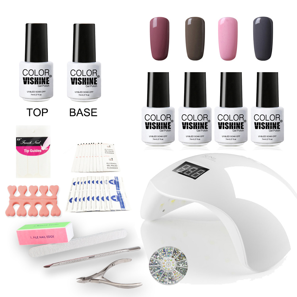 Nail Gel Polish Starter Kit Set Sun Uv Led Lamp 4 Colors