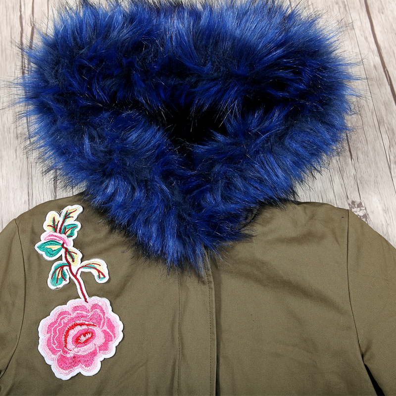 GLO-STORY 2018 Women Thick Mid Long Fur Hooded Embroidered Winter Parka Coat Feminino Fur Lining Warm Jacket Woman Parkas 5627