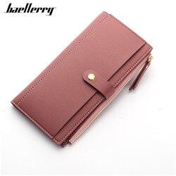 Longo sólido marca de luxo mulheres carteiras moda ferrolho couro carteira feminina bolsa embreagem dinheiro carteira feminina moeda bolsa
