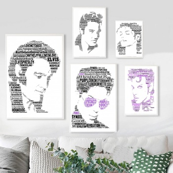 مايكل جاكسون الأمير الفيس بريسلي الموسيقى المغني الفن جدار ديكور قماش المشارك لوحات لغرفة المعيشة