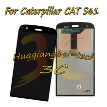 5.2 جودة جديد أسود ل كاتربيلر القط S61 كامل شاشة الكريستال السائل + مجموعة المحولات الرقمية لشاشة تعمل بلمس 100% اختبارها