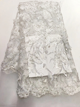 2018 Latest 3D applique French Lace Fabric.beads and sequins High Quality white African Lace Fabric For Wedding dress