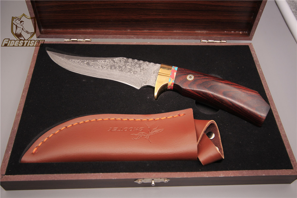 fixed blade straight knife high-end custom small straight knife damascus pattern steel gift box leather sharp and delicate wood hx small mercenary survival hunting knife d2 steel blade fixed blade knife straight camping knives multi tactical hand tools