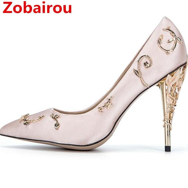 Zobairou Designer Schuhe Frauen Luxus 2017 Metallic Gold Sexy High