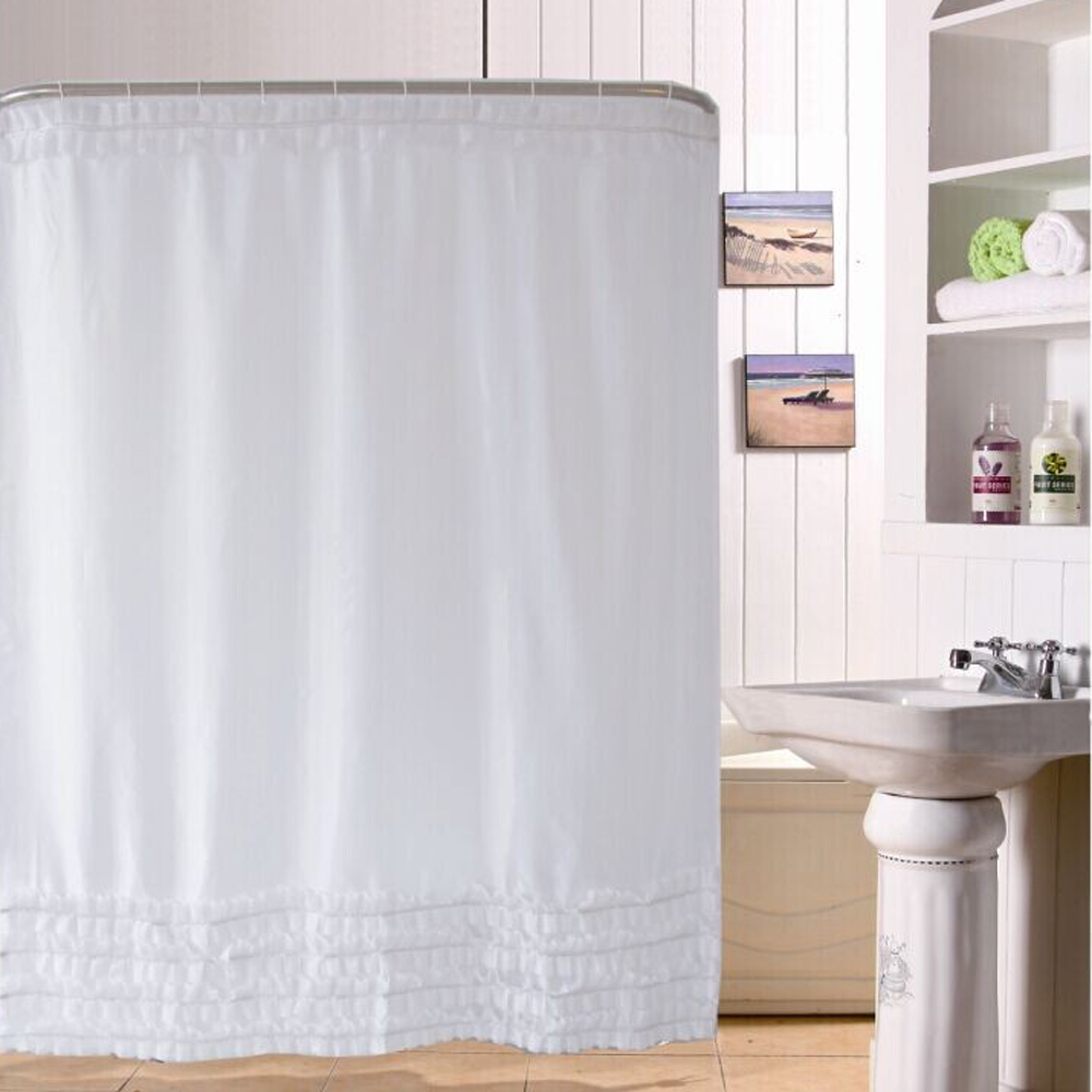 Shower Curtain Lace Frill Design Bathroom Curtain 180*180cm Bathroom  Waterproof Polyester Fabric Bath Curtains