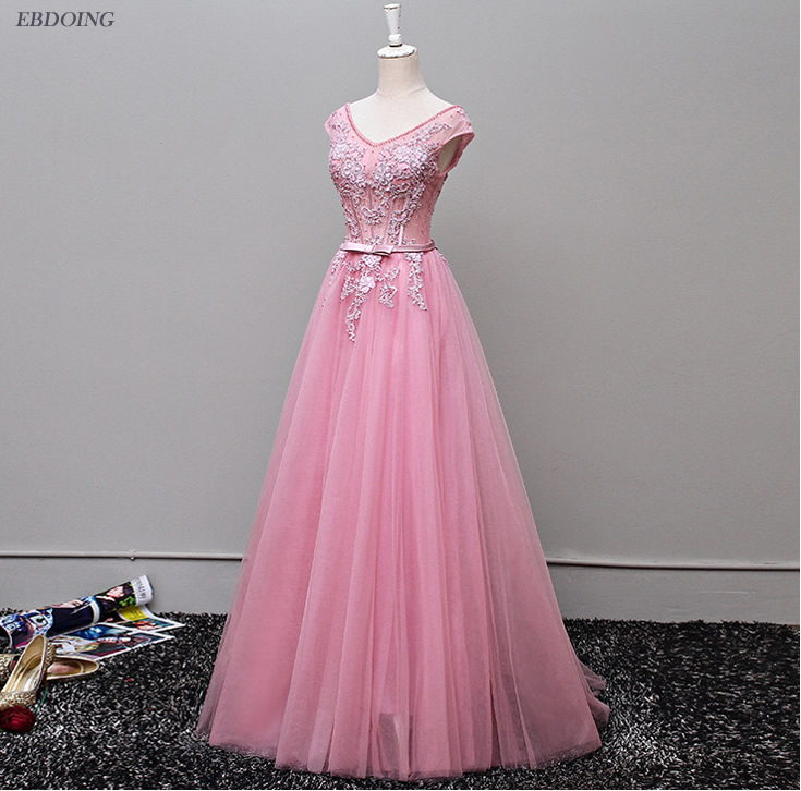 Stunning A-line Short Sleeves Prom   Dress   Scalloped Neckline Vestidos de festa Lace Up   Evening     Dresses   With Lace Beading