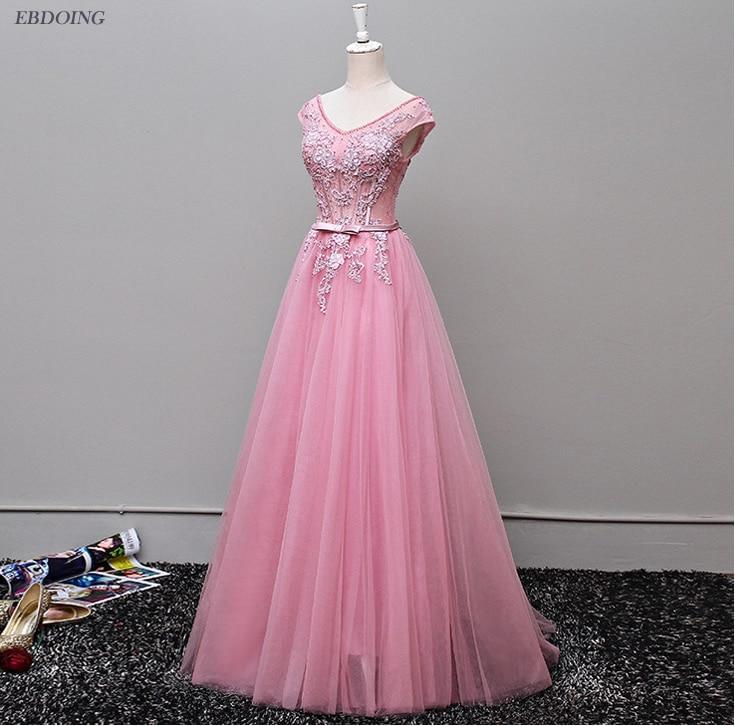 Superbe a-ligne manches courtes robe de bal festonnée décolleté Vestidos de festa à lacets robes de soirée avec perles en dentelle