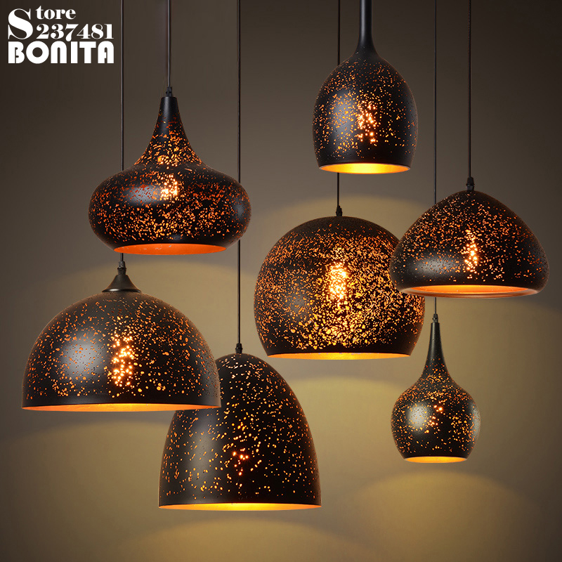 American Retro Hollow Droplight Iron Industrial Rust Hanging Lamp Vintage Loft Honeycomb Hole Wind Etching Cord Pendant Light loft industrial rust ceramics hanging lamp vintage pendant lamp cafe bar edison retro iron lighting