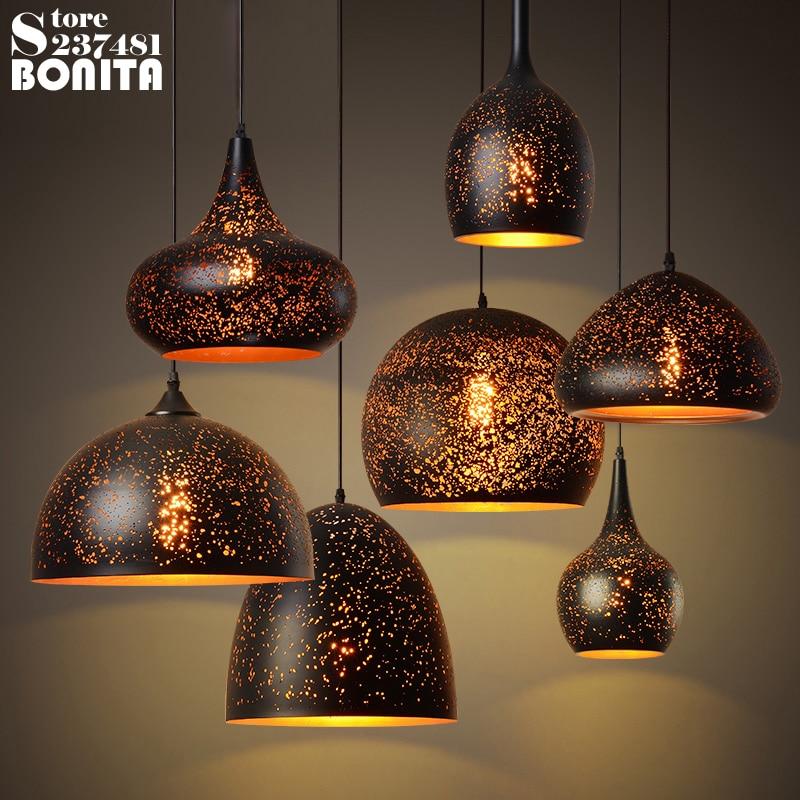 Lampe suspendue à rouille industrielle en fer creux américain rétro lampe suspendue Vintage Loft nid d'abeille trou de gravure sur vent