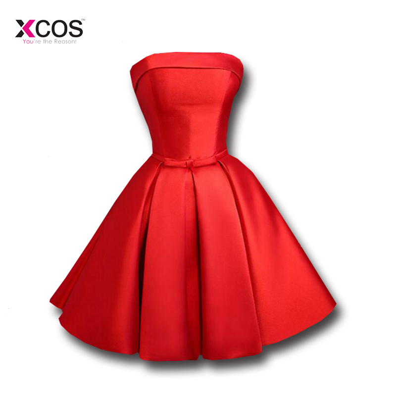 3567f1605 Short Graduation Dresses 2018 Cheap Red Satin Strapless Lace Up Back ...