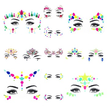 Act Face Crystal Stickers Drill Luminous Eye Glitter Temporary Tattoo Stickers Resin Body Face Jewels Gems Festival Party Makeup image
