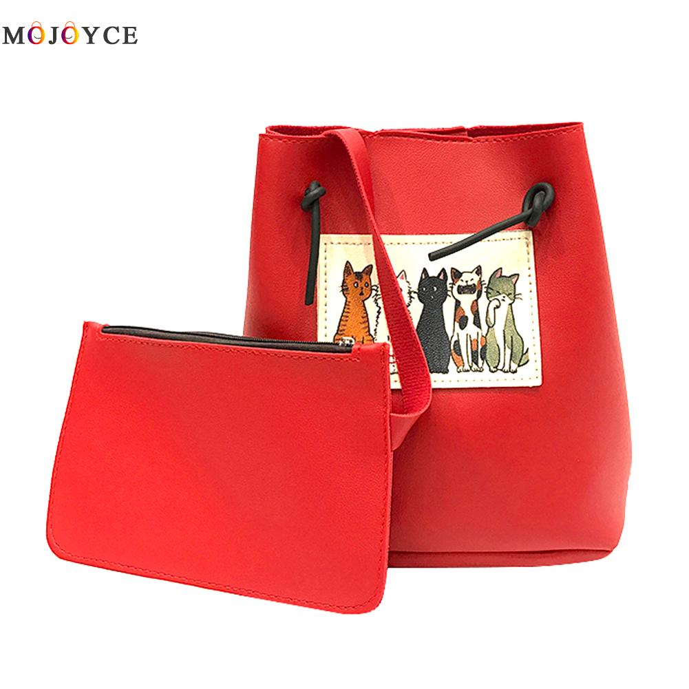 2pcs/set Cat Bucket Handbags Women Bag Designer Brand Famous Shoulder Bag Female Vintage Satchel Bag Pu Leather Crossbody Bags hansomfy womens handbags solid patent leather shoulder bag european and american style versatile female vintage bucket brand bag