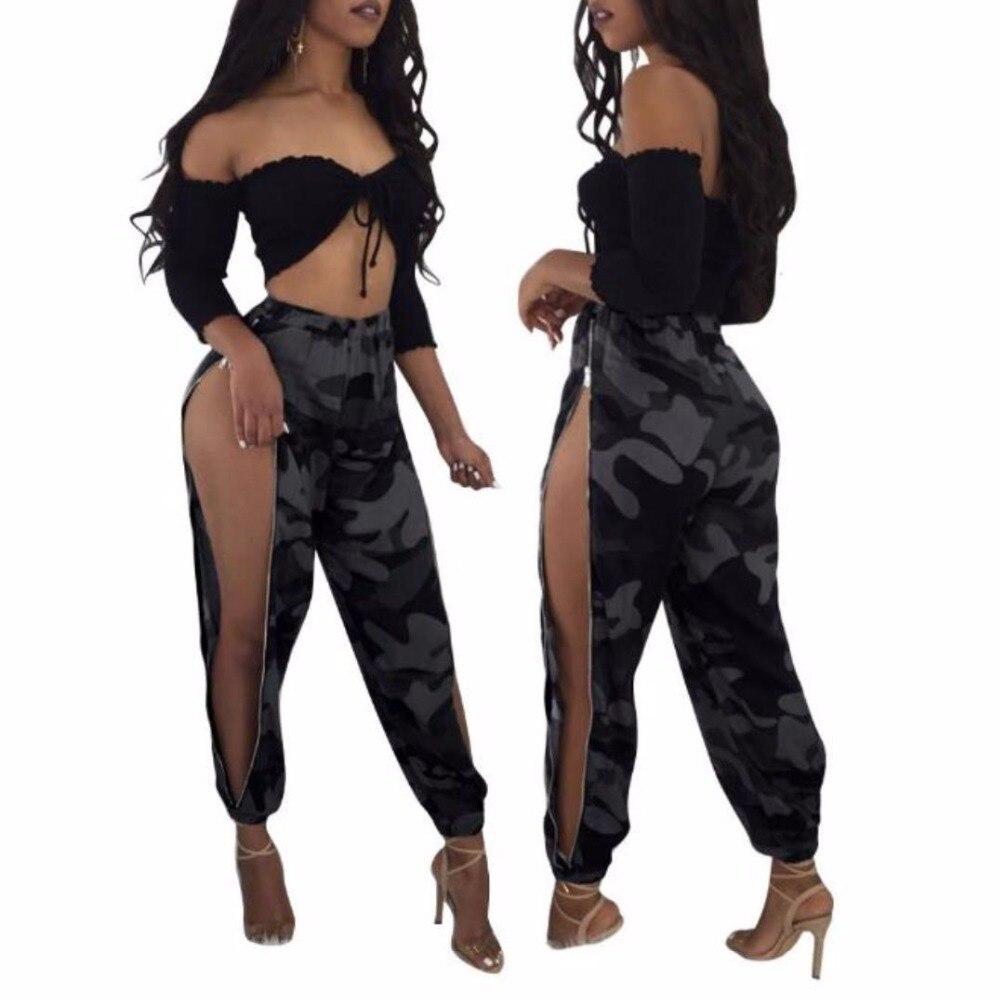 11428dccbe4d6 Bkld de cintura alta Mujer Pantalones CAMO camuflaje flojo pantalon Femme  lápiz pantalones hip hop pantalones 2018 moda streetwear