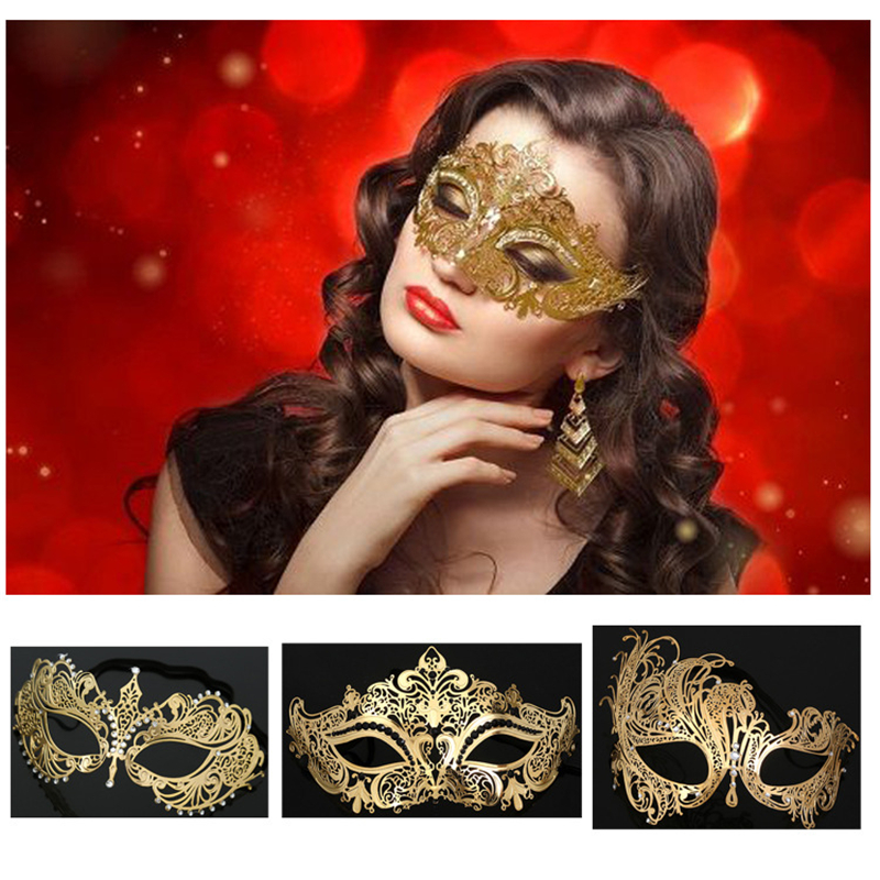 LASER CUT Venetian Masquerade Costume Crystal Ball Prom Party Wedding Gold Mask