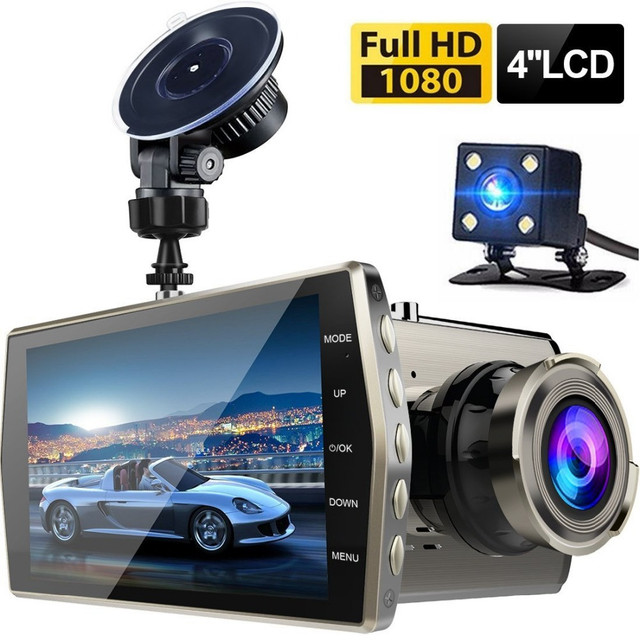 Dash Cam Dual Lens Car DVR Vehicle Camera Full HD 1080P 4″ IPS Front+Rear Night Vision Video Recorder G-sensor Parking Monitor
