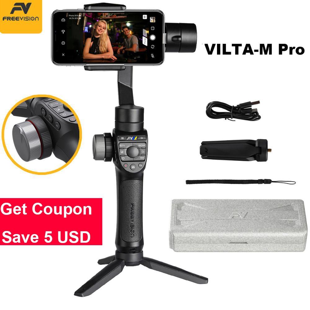 Em Estoque Freevision Vilta-M Pro 3-Eixo Cardan Handheld Estabilizador de Smartphones para Huawei P30 Pro IPhone X XS Samsung Gopro 5/6/7