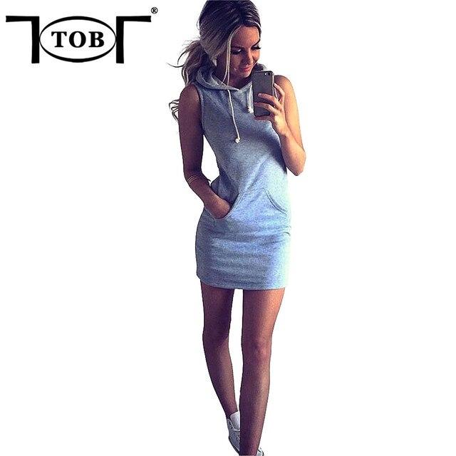 6b20407b8b76 TOB Alla Moda Con Cappuccio Estate Mini Vestito Casuale delle Donne Senza  Maniche Dress online shop