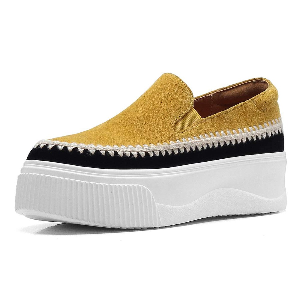 Profonde 2019 Chaussures L8f1 Fond Noir jaune Augmenté Glissement Vulcanisé Suede Couleurs Kid Sur Coince Style Simples Mélangées Épais Peu Haute Casual tsxQrhdCB