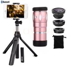Discount! Phone camera lenses Kit 10X Zoom Telephoto Optical Zoom Telescope Lens Fisheye Wide Angle Macro Lentes Monopod Bluetooth Shutter