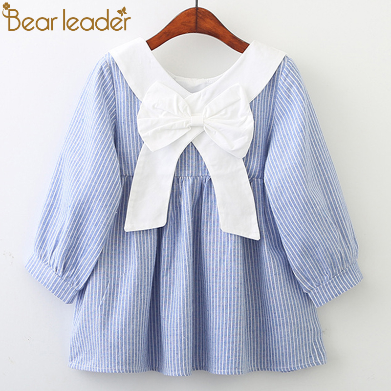 Bear Leader Girls Dresses 2018 New Fashion Princess Clohting Peter Pan Collar Behind The Bow Striped Dress For 3-7 Years cute peter pan collar striped sleeveless dress for girls